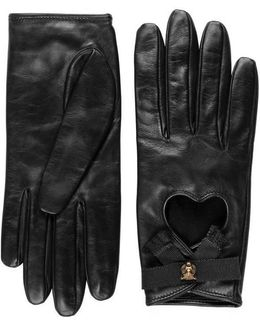Leather Gloves With Grosgrain Bow