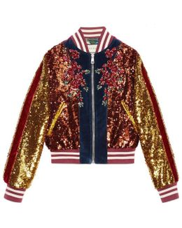 Embroidered Sequin And Velvet Bomber