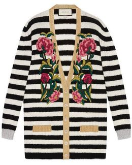 Embroidered Cashmere Wool Oversize Cardigan
