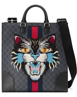 Gg Supreme Tote With Embroidered Cat