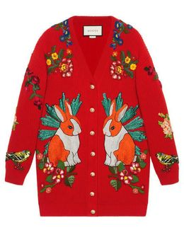 Oversize Embroidered Wool Cardigan