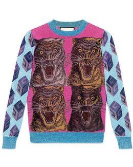Viscose-lurex Intarsia Sweater