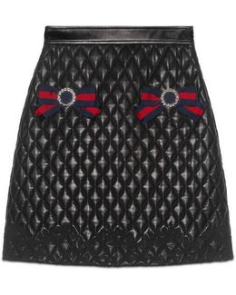 Quilted Leather Skirt With Web