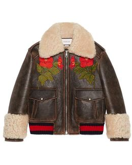 Embroidered Leather Bomber With Shearling Lining