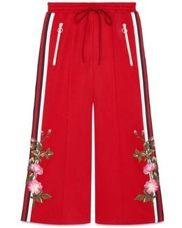 Embroidered Wide-leg Jogging Pant