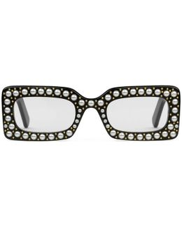 Rectangular-frame Sunglasses With Pearls