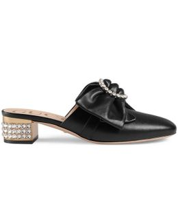 Leather Slipper With Removable Leather Bow