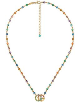 Double G Necklace With Multicolor Stones