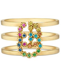 Double G Ring With Multicolor Stones