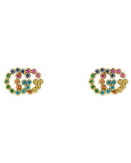 Double G Studs With Multicolor Stones
