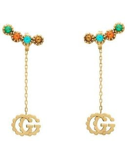 Double G Earrings With Multicolor Stones