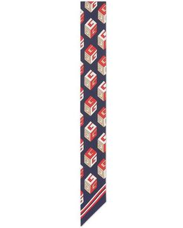 Gg Wallpaper Print Silk Neck Bow