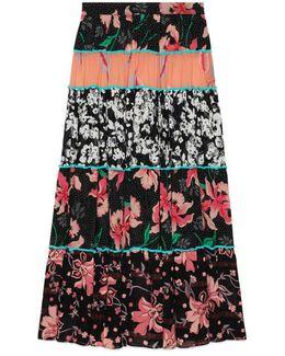 Patchwork Print Ruffle Skirt