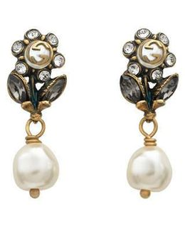 Daisy Earrings With Crystals And Pearls