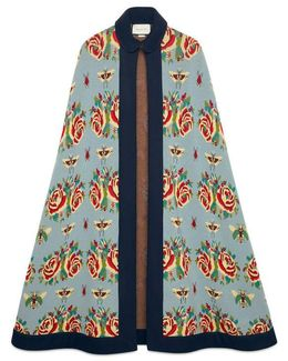 Rose And Insect Jacquard Wool Cape