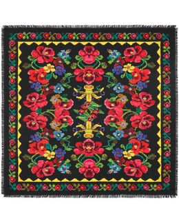 Pixelated Floral Print Silk Scarf
