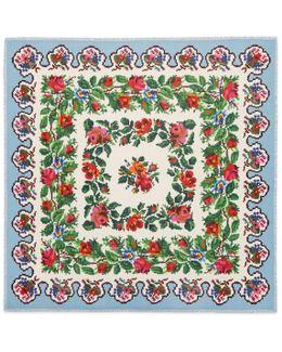 Pixelated Floral Print Modal Silk Shawl