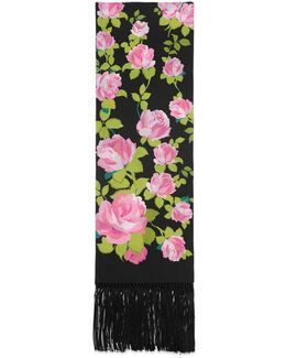 Climbing Roses Print Silk Scarf