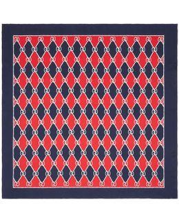 Rhombus Print Silk Scarf