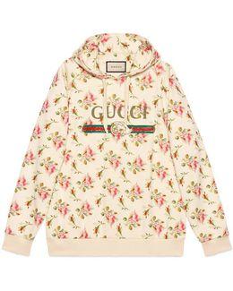 Rose Print Hooded Cotton Sweatshirt