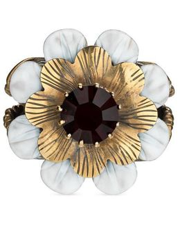 Flower Ring With Crystal