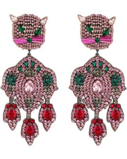 Feline Head Earrings With Crystals