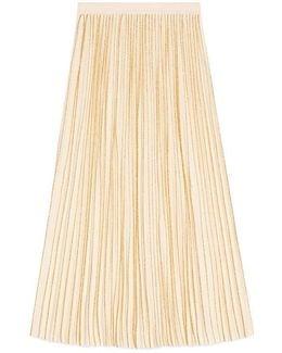 Pleated Mid-length Wool Skirt