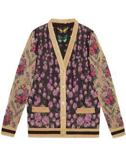 Patchwork Shiny Jacquard Reversible Cardigan