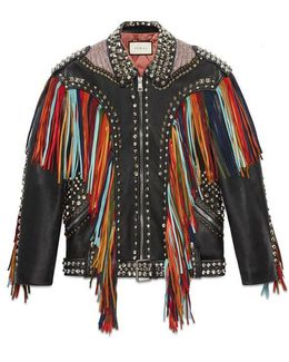 Embroidered Leather Jacket With Fringe