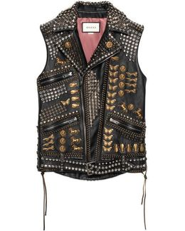 Studded Leather Vest With Embroidery