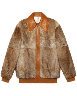 Fur Bomber With Wolf Intarsia