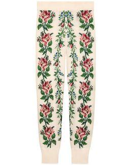 Intarsia Flowers Wool Leggings