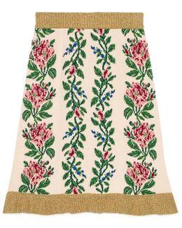 Intarsia Jacquard Flowers Wool Skirt