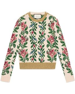 Intarsia Jacquard Flowers Wool Top