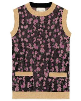 Lurex Floral Jacquard Sleeveless Top