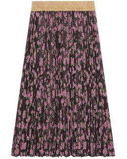 Lurex Floral Jacquard Pleated Skirt
