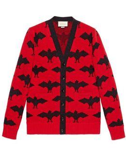 Bat Jacquard Knit Cardigan