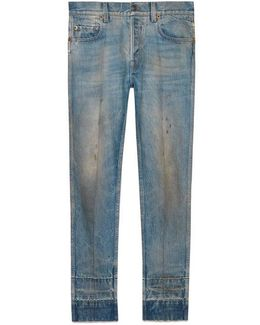 Stained Denim Punk Pant
