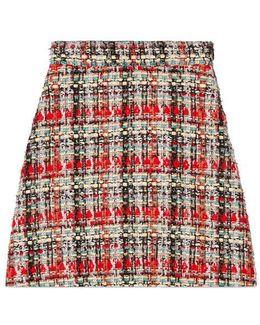 Multicolor Tweed A-line Skirt
