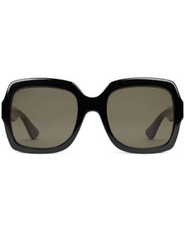 Oversize Square-frame Acetate Sunglasses With Web
