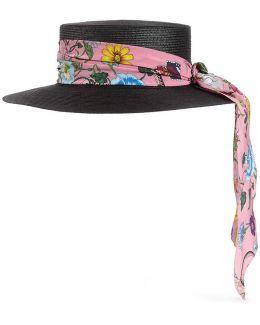 Papier Hat With Flora Ribbon