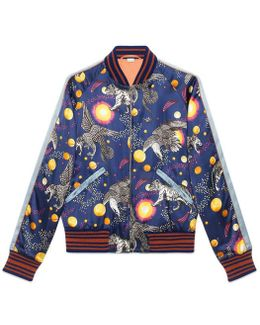 Space Animals Print Bomber Jacket