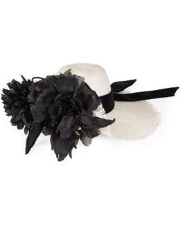 Straw Hat With Silk Flowers