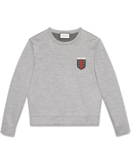Viscose Jersey Sweatshirt With Web Crest