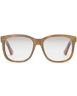 Square-frame Rhinestone Glasses