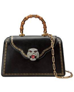 Frame Print Leather Top Handle Bag