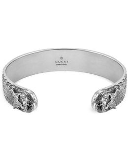 Bracelet In Silver With Feline Head