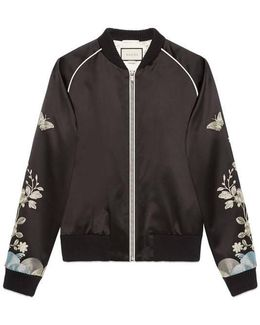 Silk Bomber With Metallic Embroidery