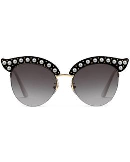Cat Eye Acetate Sunglasses With Pearls