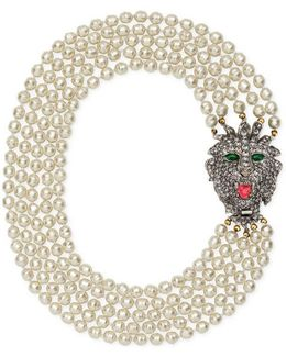Glass Pearl Necklace With Crystal Lion Head